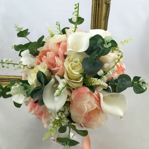 Bridal bouquet, Mixed Peony Hand Tied artificial wedding flowers